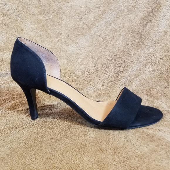 Hm Black Faux Suede Short Heel Sandals